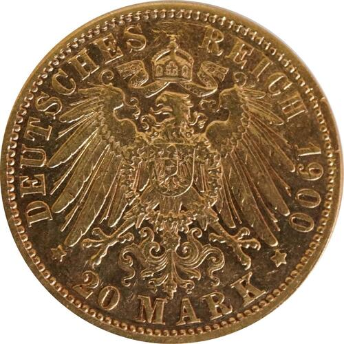 Rückseite:Deutschland : 20 Mark  winz. Kratzer 1900 ss.