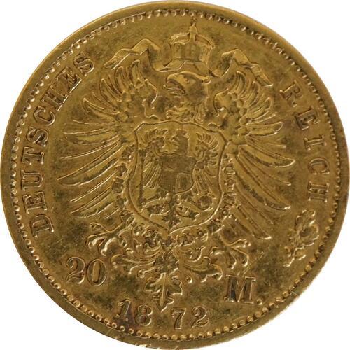 Rückseite:Deutschland : 20 Mark  winz. Rs. 1872 ss.