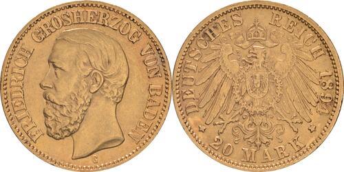 Lieferumfang:Deutschland : 20 Mark   1894 ss/vz.
