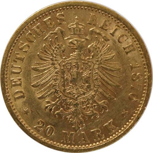 Rückseite:Deutschland : 20 Mark  winz. Kratzer, winz. Rs. 1876 ss.