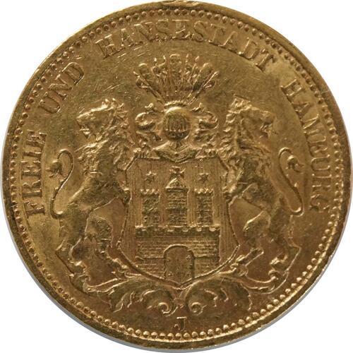 Vorderseite:Deutschland : 20 Mark  winz. Kratzer, winz. Rs. 1876 ss.