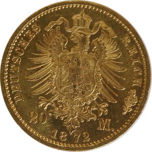 Rückseite:Deutschland : 20 Mark  winz. Rs., winz. Kratzer 1872 vz/Stgl.
