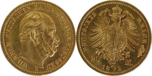 Lieferumfang:Deutschland : 20 Mark  winz. Rs., winz. Kratzer 1872 vz/Stgl.
