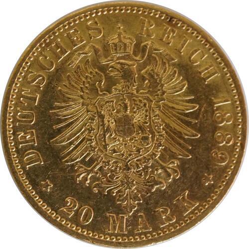 Rückseite:Deutschland : 20 Mark  winz. Kratzer 1889 ss.