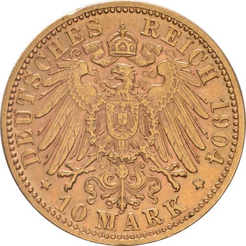 Rückseite:Deutschland : 10 Mark  winz. Kratzer 1904 vz.