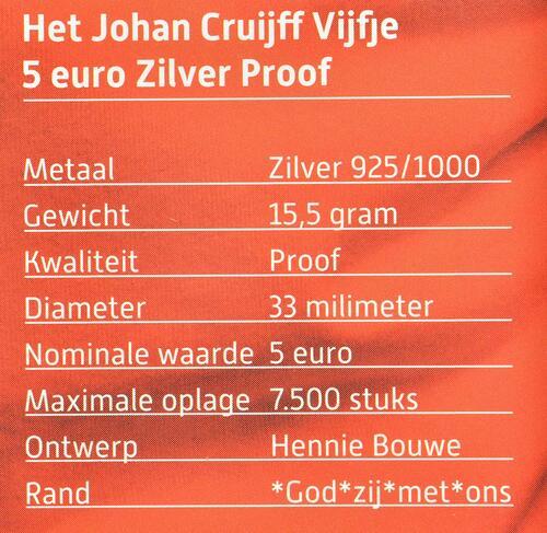 Zertifikat:Niederlande : 5 Euro Johan Cruijff  2017 PP