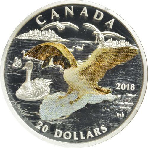 Vorderseite:Kanada : 20 Dollar Canadagans im Anflug - 3D  2018 PP