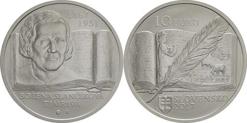 Lieferumfang:Slowakei : 10 Euro 150. Geb. Bozena Slancikova-Timrava (Schriftstellerin)  2017 Stgl.