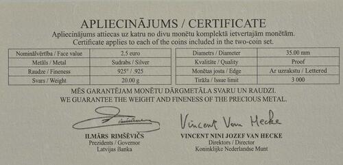 Zertifikat:Lettland : 2,5 Euro Set aus 2x 2,5 Euro Eduards Veidenbaums  2017 PP