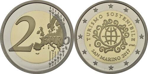 Rückseite:San Marino : 7,88 Euro KMS San Marino mit beiden 2 Euro Gedenkmünzen Tourismus und Giotto  2017 PP