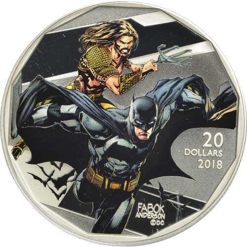 Vorderseite :Kanada : 20 Dollar The Justice League-Batman & Aquaman  2018 PP