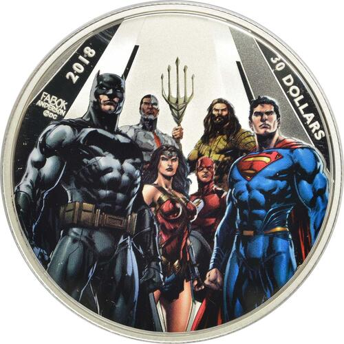 Vorderseite:Kanada : 30 Dollar The Justice League - The World´s Greatest Superheroes  2018 PP