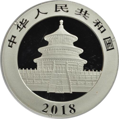 Rückseite:China : 10 Yuan Panda  2018 Stgl.