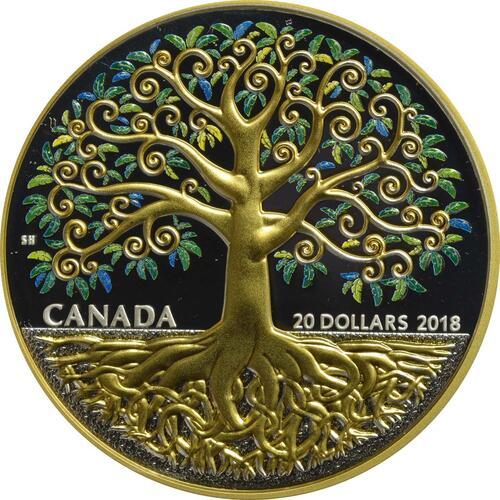 Vorderseite:Kanada : 20 Dollar Baum des Lebens  2018 PP