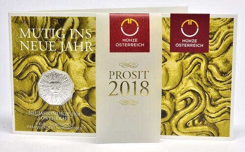 Lieferumfang:Österreich : 5 Euro Neujahrsmünze Löwenkraft  2018 Stgl.