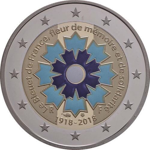 Rückseite:Frankreich : 2 Euro Kornblume coloriert  2018 PP