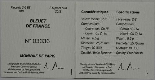 Zertifikat:Frankreich : 2 Euro Kornblume coloriert  2018 PP