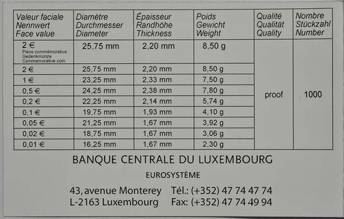 Zertifikat:Luxemburg : 7,88 Euro KMS Luxemburg  2017 PP