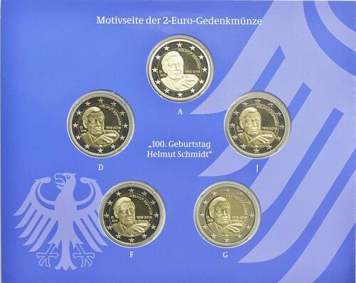 Rückseite:Deutschland : 2 Euro Helmut Schmidt Komplettsatz 5x2 Euro  2018 PP