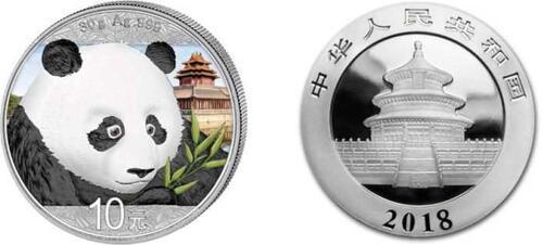 Lieferumfang:China : 10 Yuan Silberpanda farbig - Variante 2  2018 Stgl.