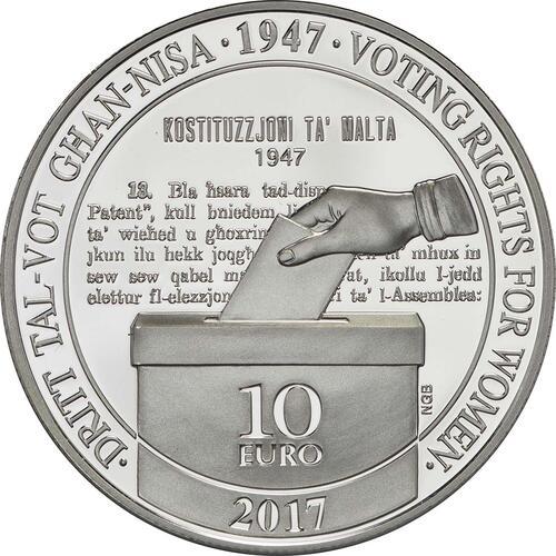 Vorderseite:Malta : 10 Euro Frauenwahlrecht  2017 PP