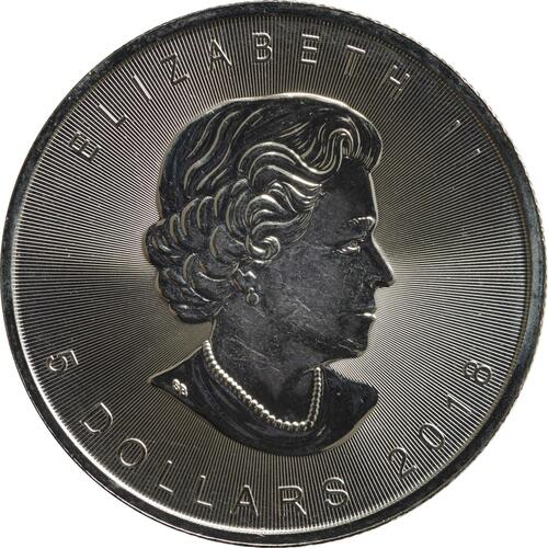 Rückseite :Kanada : 5 Dollar Maple Leaf  2018 Stgl.