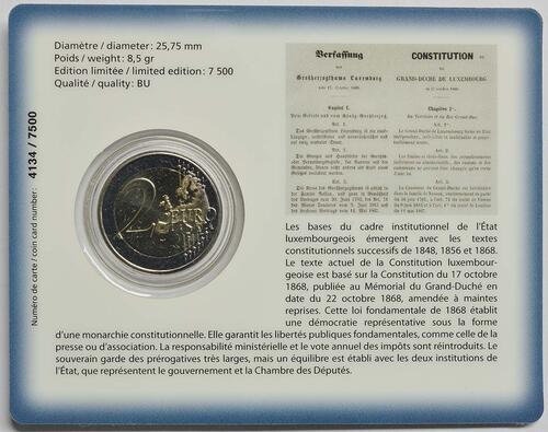 Zertifikat:Luxemburg : 2 Euro 150 Jahre Verfassung  2018 bfr