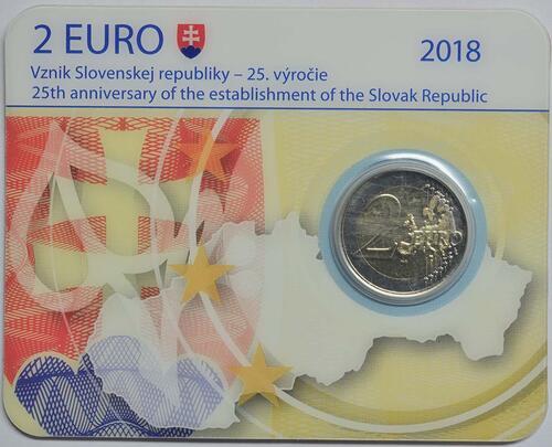 Lieferumfang:Slowakei : 2 Euro 25 Jahre Slowakische Republik  2018 Stgl.