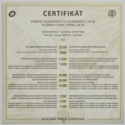 Zertifikat:Slowakei : 3,88 Euro KMS Slowakei Winterolympiade Pyeong Chang  2018 PP