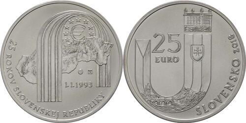 Lieferumfang:Slowakei : 25 Euro 25 Jahre Slowakische Republik  2018 Stgl.