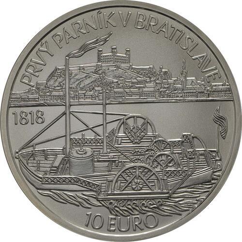Rückseite :Slowakei : 10 Euro Schiffahrt erstes Dampfschiff auf der Donau - 200. Jahrestag  2018 Stgl.