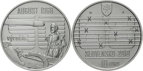 Lieferumfang:Slowakei : 10 Euro Invasion des Warschauer Paktes in der Tschechoslowakei August 1968  2018 Stgl.