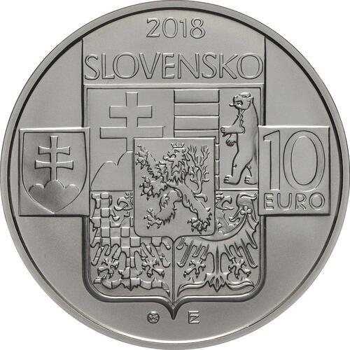 Rückseite:Slowakei : 10 Euro Gründung der Tschechischen Republik - 100. Jahrestag  2018 Stgl.