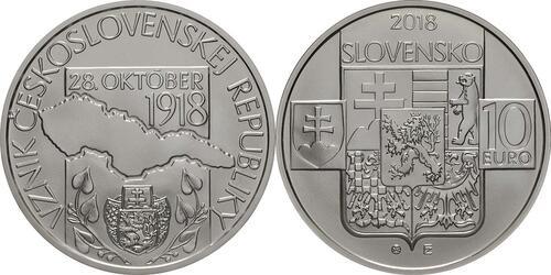 Lieferumfang:Slowakei : 10 Euro Gründung der Tschechischen Republik - 100. Jahrestag  2018 Stgl.