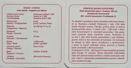 Zertifikat:Slowakei : 100 Euro 400. Jahrestag der Krönung von Ferdinand II  2018 PP