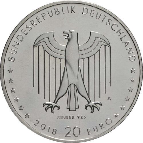 Rückseite:Deutschland : 20 Euro 150. Geburtstag Peter Behrens  2018 bfr