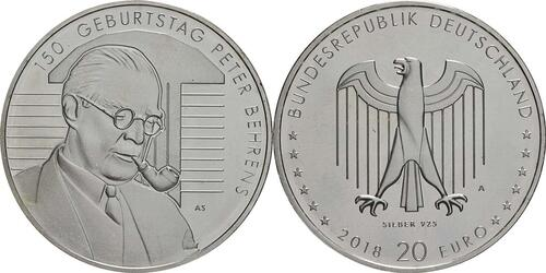 Lieferumfang:Deutschland : 20 Euro 150. Geburtstag Peter Behrens  2018 bfr