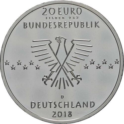 Rückseite:Deutschland : 20 Euro 100. Geburtstag Ernst Otto Fischer  2018 bfr