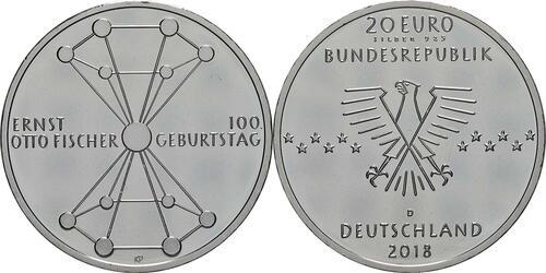 Lieferumfang:Deutschland : 20 Euro 100. Geburtstag Ernst Otto Fischer  2018 bfr