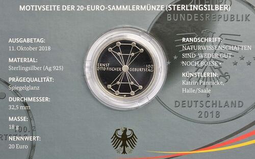 Zertifikat:Deutschland : 20 Euro 100. Geburtstag Ernst Otto Fischer  2018 PP