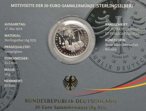 Zertifikat:Deutschland : 20 Euro 800 Jahre Hansestadt Rostock  2018 PP