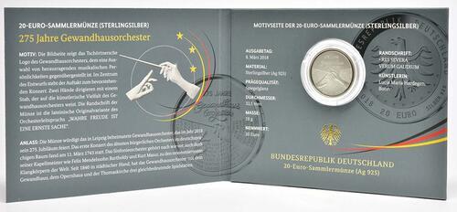 Lieferumfang :Deutschland : 20 Euro 275 Jahre Gewandhausorchester  2018 PP