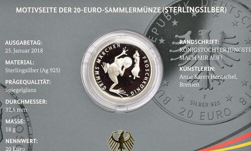 Zertifikat:Deutschland : 20 Euro Froschkönig  2018 PP