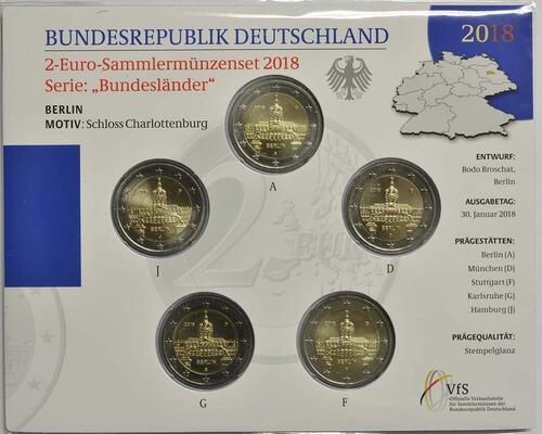 Lieferumfang:Deutschland : 2 Euro Berlin - Schloss Charlottenburg Komplettsatz 5x2 Euro  2018 Stgl.