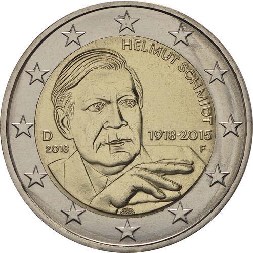 Rückseite:Deutschland : 2 Euro Helmut Schmidt  2018 bfr