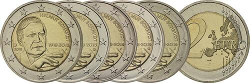 Lieferumfang:Deutschland : 2 Euro Helmut Schmidt Komplettsatz 5x2 Euro  2018 bfr