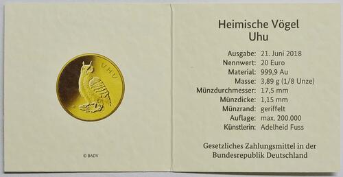 Zertifikat:Deutschland : 20 Euro Uhu  2018 Stgl.