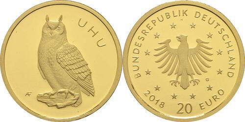 Lieferumfang:Deutschland : 20 Euro Uhu  2018 Stgl.