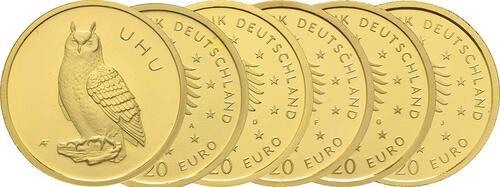Lieferumfang:Deutschland : 20 Euro Uhu Komplettsatz ADFGJ 5 Münzen  2018 Stgl.