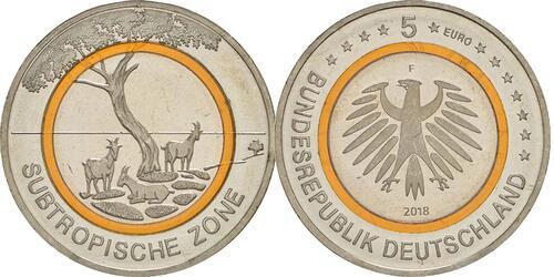 Lieferumfang:Deutschland : 5 Euro Subtropische Zone Buchstabe unserer Wahl  2018 bfr